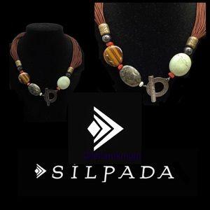 Silpada Sterling Semi Prec Stones Cord Necklace